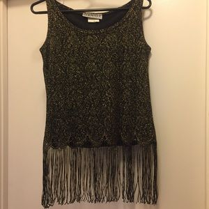 FRINGE CROP TANK- BLACK & GOLD